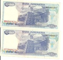 INDONESIE 1000 RUPIAH 1992-99 VF+ P 129 H ( 2 Billets ) - Indonesia