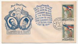 PHILIPPINES  => Enveloppe FDC => 2 Valeurs - Visite Du Président Quirino Aux Philippines - Manille - 5 Octobre 1952 - Philippines
