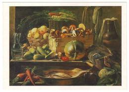 STILL LIFE (mushrooms, Apples, Pumpkin, Fish), 1839 Oil On Canvas By IVAN KHRUTSKY. Unused Postcard - USSR, 1983 - Peintures & Tableaux