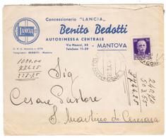 WQ271  Regno 1942 - BENITO BEDOTTI Concessionario LANCIA, MANTOVA - Busta Pubblicitaria Per Ceresara, Imperiale 50c - Marcofilía