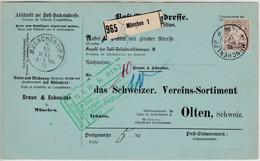 Bayern - 80 Pfg. Wappen, Paketkarte I.d. SCHWEIZ, München 1PP - Olten 1910 - Bavaria