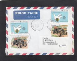 """LETTRE AVEC 2 TIMBRES """"LIONS INTERNATIONAL"""" ET 2 TIMBRES """"ANCIENNE VOITURE"""". - Benin – Dahomey (1960-...)"""