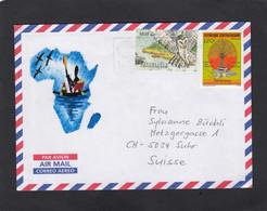 """LETTRE AVEC  TIMBRES """"CHOUETTE/HUILE DE PALME"""". - Central African Republic"""