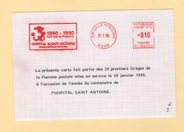 EMA - Machine P - Hopital Saint Antoine - 1990 - Premier Tirage De La Flamme - EMA (Print Machine)