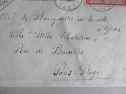 "Ieper, Briefomslag Asieloord Burgemeester Van ""Ypres"" 29-3-1916 In Villa ""Stella Matutina"" Paris-Plage (Fr) Recommandée! - Niet-bezet Gebied"