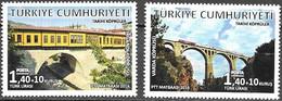 TURKEY, 2016, MNH,  BRIDGES, TRAINS, ARCHITECTURE, 2v - Bruggen