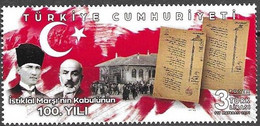 TURKEY, 2021, MNH,  FLAGS, MUSIC, 100 YEARS OF ACCEPTANCE OF TURKISH NATIONAL ANTHEM, 1v - Musique
