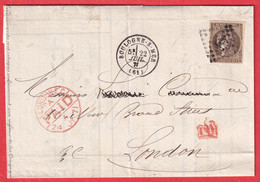 N°47 BRUN FONCE GC 549 BOULOGNE SUR MER PAS DE CALAIS POUR LONDRES LONDON ANGLETERRE - 1849-1876: Classic Period