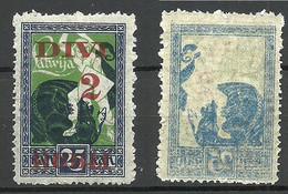 LETTLAND Latvia 1920 Michel 62 ERROR Abart Variety Abklatsch D. Rahmens Set Off Of Frame Print MNH - Lettland