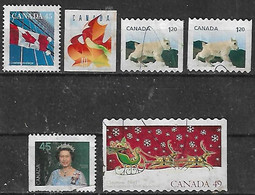1995-2004 Canada Bandera-hoja-navidad-reina 6v. - Usados