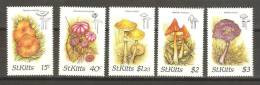 Saint Kitts 1987 Mushroom & Fungi Set 5 MNH , The 40c With Slight Gum Contraction - St.Kitts And Nevis ( 1983-...)