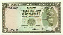 TIMOR - 20 ESCUDOS - 24.10.1967 - P 26 - Unc. - Sign. 7 - 7 Digits - REGULO D. ALEIXO - PORTUGAL - Timor