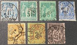 Lot Sage Avec Belle Oblitération Cachet à Date D'Epoque  TB - 1876-1898 Sage (Type II)
