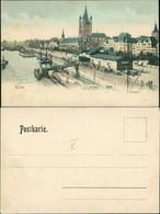 Ansichtskarte Köln Leystapel, Flussbadeanstalt, Schiffe 1909  - Koeln