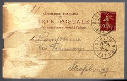 ENTIER POSTAL - 20c SEMEUSE - 1924 - ROSHEIM - - Postales Tipos Y (antes De 1995)