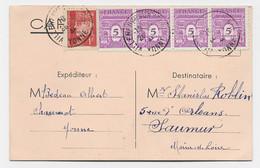 ARC TRIOMPHE 5C BANDE DE 4 MIXTE 1FR PETAIN CARTE VILLENEUVE YONNE 26.10.1944 RARE MIXTE PETAIN ARC TRIOMPHE - 1944-45 Arc Of Triomphe