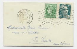 GANDON 2FR+ 80C MAZELIN MIGNONNETTE PARIS TRI N°1 3.1.1947  AU TARIF - 1945-54 Marianne Of Gandon