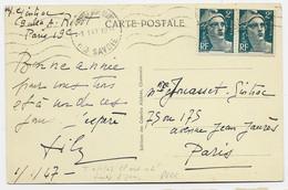 GANDON 2FR PAIRE CARTE CHAMONIX 1.1.1947 1ER JOUR DU TARIF RARE SUPERBE - 1945-54 Marianne Of Gandon