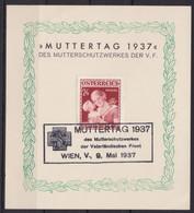 "MiNr. 638 ""Muttertag 1937"", Pass. Sonderblatt Mit Sst ""Wien"" - Briefe U. Dokumente"