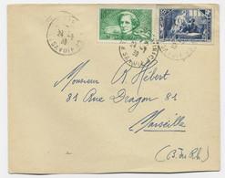 BERLIOZ 40C SURTAXE +50C SURTAXE N°307 LETTRE BOURG ST MAURICE 24.7.1939 SAVOIE AU TARIF - 1921-1960: Modern Tijdperk