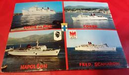 CPSM 4 BATEAUX-COURRIERS CORSE, NAPOLEON, COMTÉ DE NICE, FRED SCAMARONI, FLAMME 1970  BON  ETAT - Zonder Classificatie