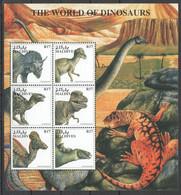PK015 MALDIVES FAUNA PREHISTORIC ANIMALS THE WORLD OF DINOSAURS 1KB MNH - Preistorici