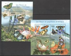 TG1006 2011 TOGO TOGOLAISE FAUNA ANIMALS FLOWERS AND BUTTERFLIES D'AFRIQUE 1KB+1BL MNH - Butterflies