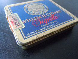 Willem II Cigars 20 Sigretto Holland Boîte En Metal Pour Cigares Blikken Doos Voor Sigaren 9 X 8,5 X 1,6 Cm - Scatola Di Sigari (vuote)