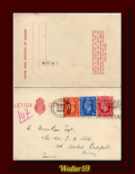 1954 UK Great Britain Letter Card Posted Glasgow To France - Interi Postali
