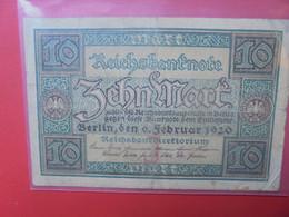 Reichsbanknote 10 Mark 1920 Circuler - 10 Mark