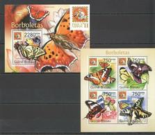 BC636 2011 GUINE GUINEA-BISSAU FLORA & FAUNA BUTTERFLIES BL+KB OVERPRINT MNH - Butterflies