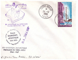 TAAF TERRE ADELIE 24 12 1966 SIGNEE PE VICTOR AVEC PA 13 - Cartas