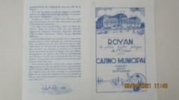 1928 / CASINO MUNICIPAL DE ROYAN / PROGRAMME-PUBLICITE - Programs