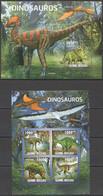 BC607 2011 GUINE GUINEA-BISSAU FAUNA PREHISTORIC ANIMALS DINOSAURS DINOSAUROS KB+BL MNH - Prehistorics