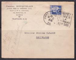 Lettre Avec Daguin, Visitez Nimes La Rome Française Et Le Gard 1939 (ref L A309) - Annullamenti Meccaniche (Varie)
