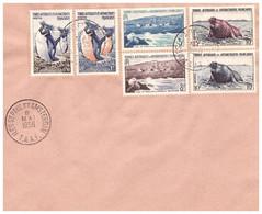 TAAF ST PAUL AMSTERDAM  08 05 1956 AVEC N° 2 3 4 5 6 7 - Cartas