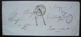 1856 Lettre Pour Ypres Belgique En Poste Restante, Taxée 30 Cad Bordeaux à Paris, Origine Libourne - 1849-1876: Periodo Classico