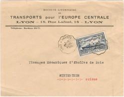 1.50F PAQUEBOT NORMANDIE TARIF LETTRE ETRANGER OBLI CONVOYEUR LYON A GENEVE 18/7/35 ENTETE TRANSPORTS POUR L'EUROPE CEN. - 1921-1960: Moderne