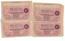 """1943 Lot De 4 Billets De 10 Kg  """"produits Moulés En Acier... """" Dont 3 N° Se Suivent     OFFA     Ref D - Bons & Nécessité"""