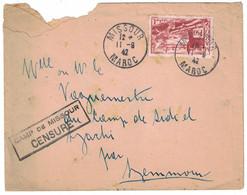 GRIFFE CAMP DE MISSOUR CENSURE CACHET CENTRE SÉJOUR SURVEILLE LETTRE AFFRANCHIE 1F50 CAD 1942 Pour SIDI EL AYACHI MAROC - Covers & Documents