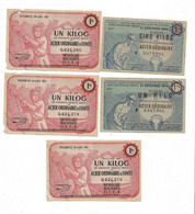 """1943/45 Lot De 5 Billets De 10 Kg  """"produits Moulés En Acier... """" 2 Modèles      OFFA  Et OCRPI    Ref E - Bons & Nécessité"""