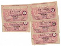 """1943 Lot De 5 Billets De 1 Kg  """"produits Moulés En Acier... """" N° Se Suivent      OFFA     Ref C - Bons & Nécessité"""
