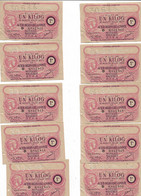 """1944 Lot De 10 Billets De 1 Kg  """"produits Moulés En Acier... """" N° Se Suivent    OFFA   Ref H - Bonos"""