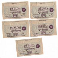 """1944 Lot De 5 Billets De 10 Kg  """"produits Sidérurgiques En Acier... """"  Dont 4 N° Se Suivent    OFFA   Ref B - Bonos"""