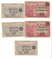 """1943/44 Lot De 5 Billets De 5 Kg  """"produits Sidérurgiques En Acier... """"  2 Modèles Différents    OFFA   Ref F - Buoni & Necessità"""