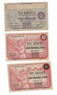 """1943/44 Lot De 3 Billets De 1,   5 Et 50 Kg  """"produits Sidérurgiques En Acier... """"  2 Modèles Différents    OFFA   Ref G - Buoni & Necessità"""