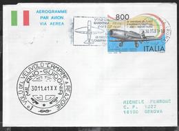 VOLO SPECIALE GUIDONIA/PERETOLA(FI) * 30.11.91* PER EMISSIONE AEROGRAMMA PRIMO VOLO A REAZIONE - FDC - Poste Aérienne