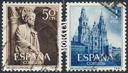 1954 España  Ed 1130/1131 Año Santo Monasterios (o) Usado, Buen Estado  (Edifil) - 1951-60 Used