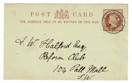 Ref 1481 - GB 1880 Postal Stationery Card - Superb London W.C. / S.M.P Postmark - Storia Postale