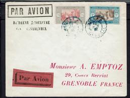 1925 - Affr. à 2,75 F Sur Env. De Dakar à Toulouse, Via Casa, Redirigée Vers Grenoble, Voir Explication Au Verso. B/TB. - Airmail